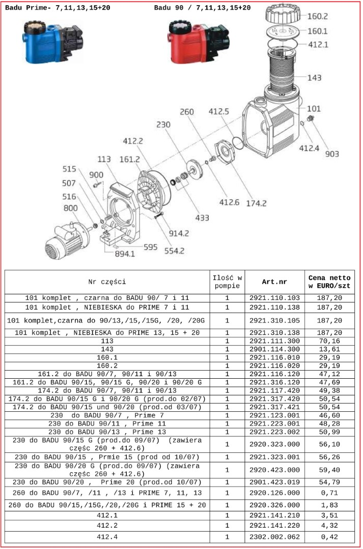 Speck Badu Prime 90-25 90-30 90-40 90-48 czesci zamienne